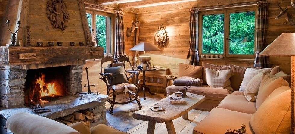 Luxury chalets in Courchevel have large sitting rooms with comfy sofas